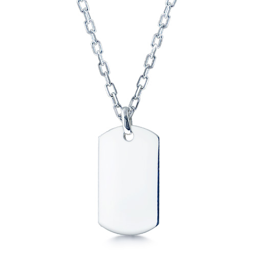 Mens Sterling Silver Extra Large Smooth-edge Dog Tag Necklace W/ Oval Link Chain (engravable) Picture