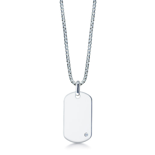 Mens Sterling Silver Dog Tag Necklace W/ 0.05 Ctw Diamond Accent And Box Link Chain (engravable) Picture