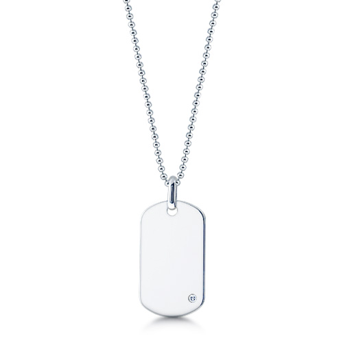Mens Sterling Silver Dog Tag Necklace W/ 0.05 Ctw Diamond Accent And Ball Link Chain (engravable) Picture