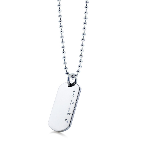 His - Mens Sterling Silver Diamond Braille Love Dog Tag Necklace W/ Ball Chain (engravable) Picture