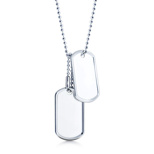 Mens Sterling Silver Double Large Raised Edge Dog Tag Necklace W/ Ball Chain And Extension (engravable) Picture