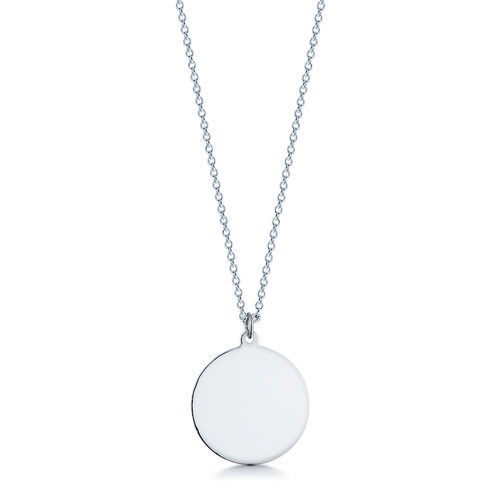1 inch Engravable Sterling Silver Disc Charm Necklace