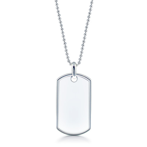 Mens Extra Large Raised Edge Sterling Silver Dog Tag Necklace W/ Ball Chain (engravable) Picture