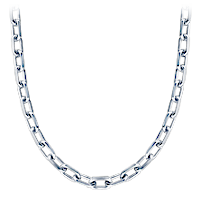 Mens Silver Oval Link Chain Detail