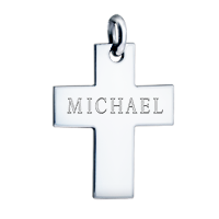 Mens Cross Text Engraving