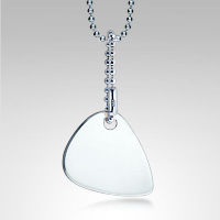 Men's Sterling Silver Guitar Pick Necklace