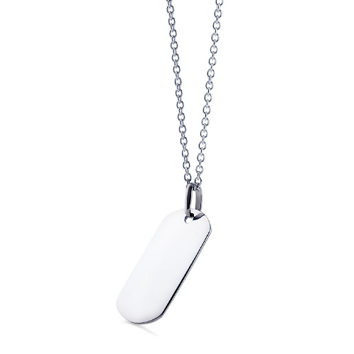 Mens 14k White Gold Dog Tag Necklace W/ Link Chain (engravable) Picture