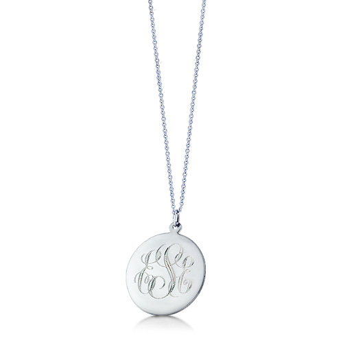 1 Inch 14k White Gold Monogram Disc Charm Necklace (engravable) Picture