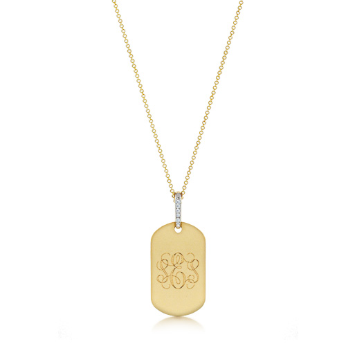 Womens 14k Solid Gold Dog Tag Necklace with Diamond Bail (0.05 ctw)