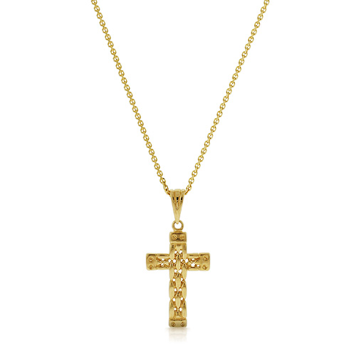 Mens Solid 14k Gold Celtic Weave Cross Necklace Picture