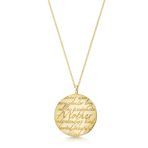Kay Wicks - 1.25 inch Solid 14k Gold Mother Disc Charm Necklace (Engravable)