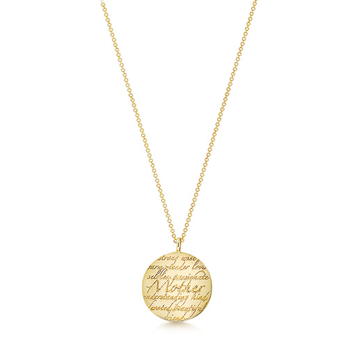 Kay Wicks - 7/8 Inch Solid 14k Gold Mother Disc Charm Necklace (engravable) Picture