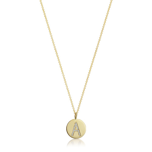 Kay Wicks - 1/2 inch Small 14k Gold Micro-Pave Diamond Initial Disc Necklace (G-H/VS-2 Engravable)