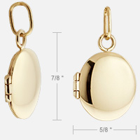 Gold Oval Locket Size Detail