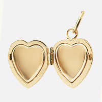 Gold Heart Locket Two-Picture Frame Detail