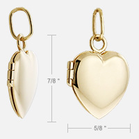 Gold Heart Locket Size Detail