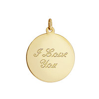 Gold Disc Necklace Text Engraving
