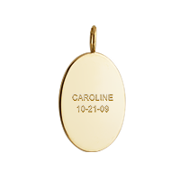Gold Oval Charm Necklace Text Engraving
