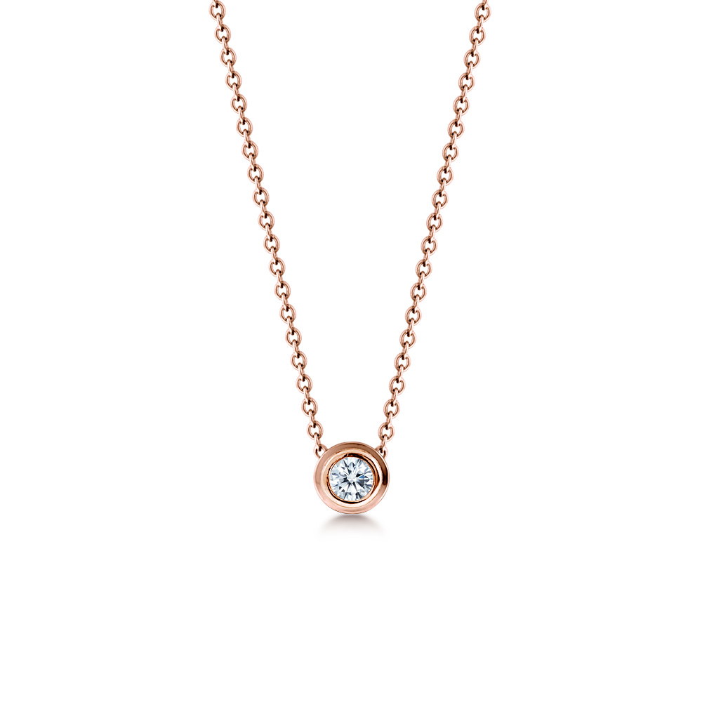 18k Rose Gold 8mm Bezel Set Diamond Solitaire Necklace Zoom View