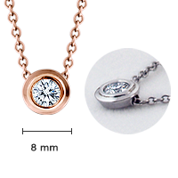 18k Rose Gold 8mm Bezel Set Diamond Solitaire Necklace Size