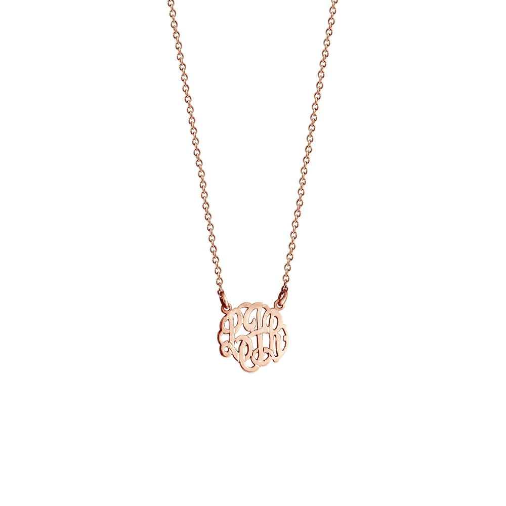 Childrens Rose Gold Monogram Necklace Zoom View