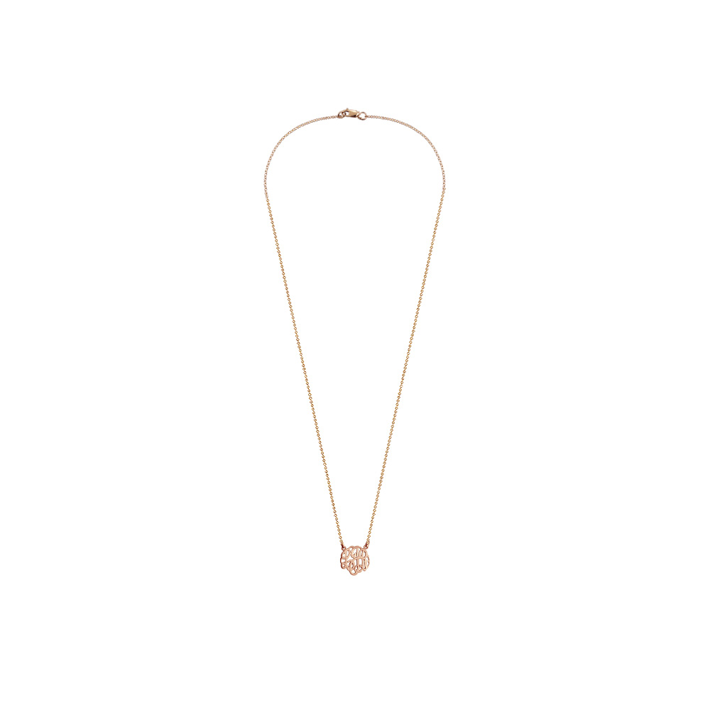 Childrens Rose Gold Monogram Neckalce Zoom View