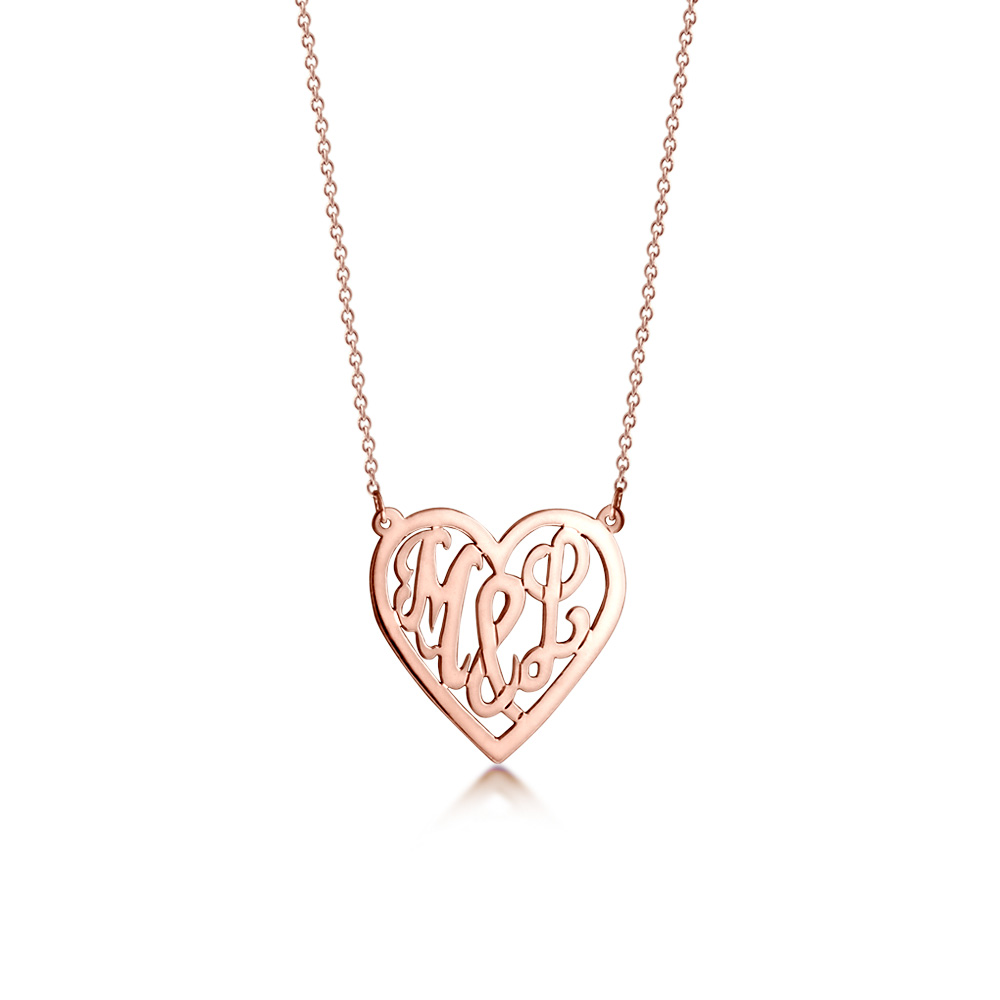 14k Rose Gold Plated Cut Out Initial Heart Necklace Zoom View