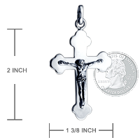 Men's Sterling Silver Crucifix Cross Necklace Size