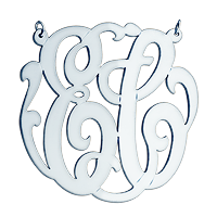 Two Initial Monogram Necklace Engraving Detail