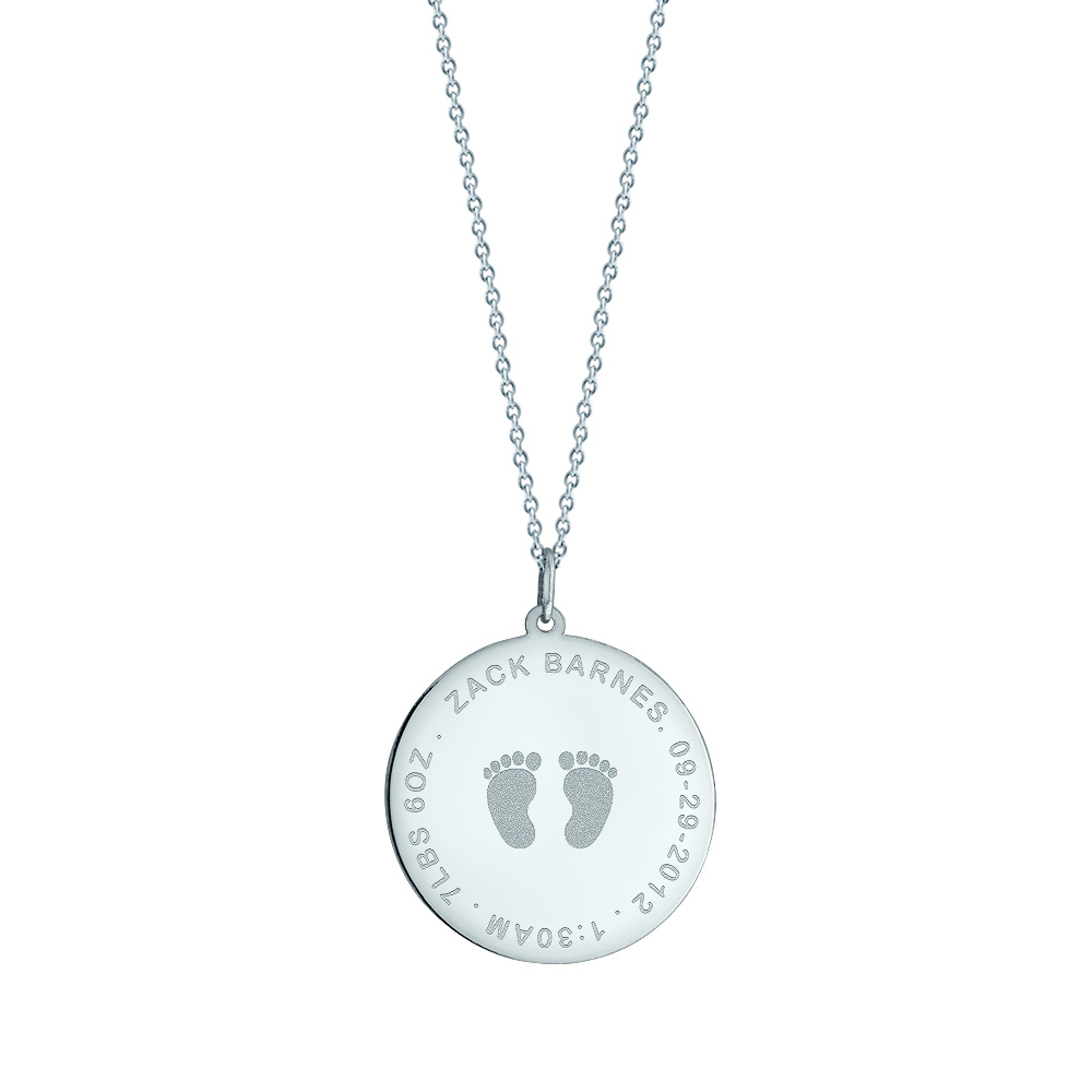 1 Inch 14k White Gold Personalized Baby Footprint Disc Necklace For New Mom Picture