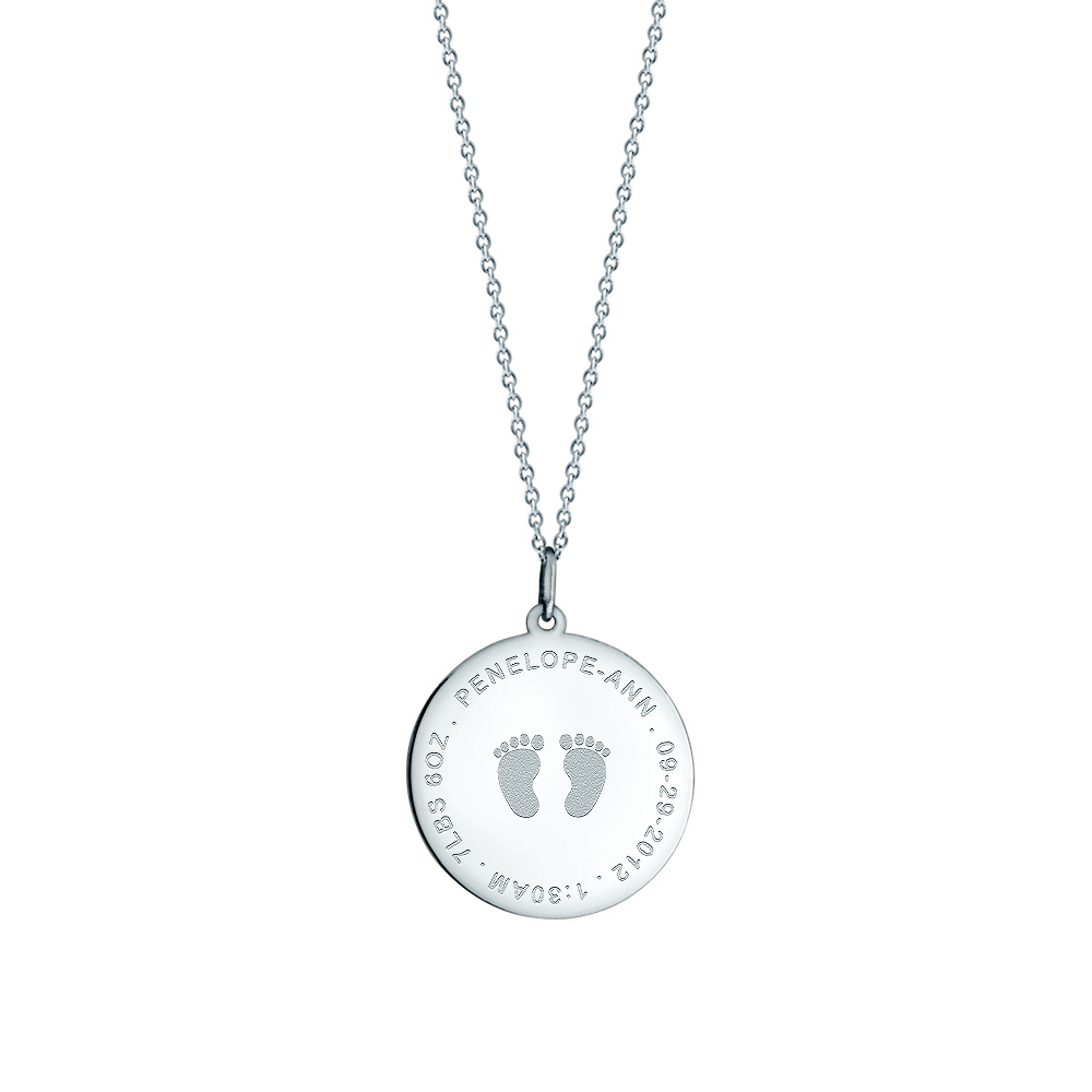 7/8 Inch 14k White Gold Personalized Baby Footprint Disc Necklace For New Mom Picture