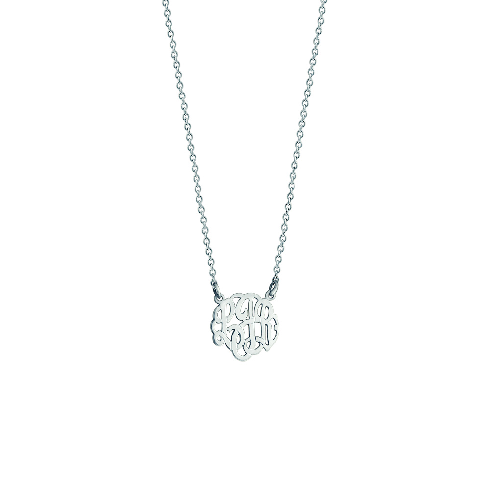 Childrens White Gold Monogram Necklace Zoom View