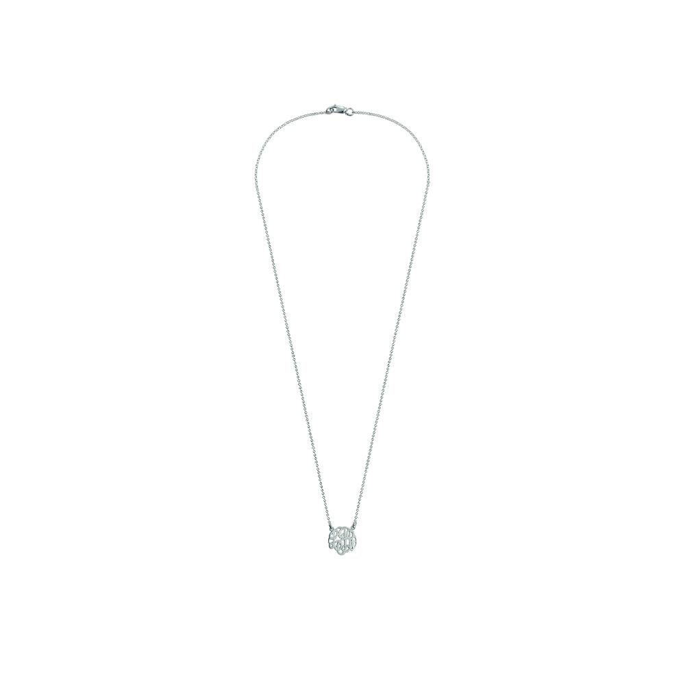 Childrens White Gold Monogram Neckalce Zoom View