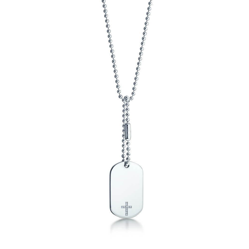Diamond Cross Dog Tag Necklace Zoom View