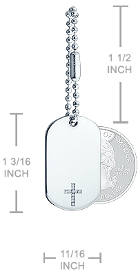Mens Diamond Cross Dog Tag Necklace Size Detail