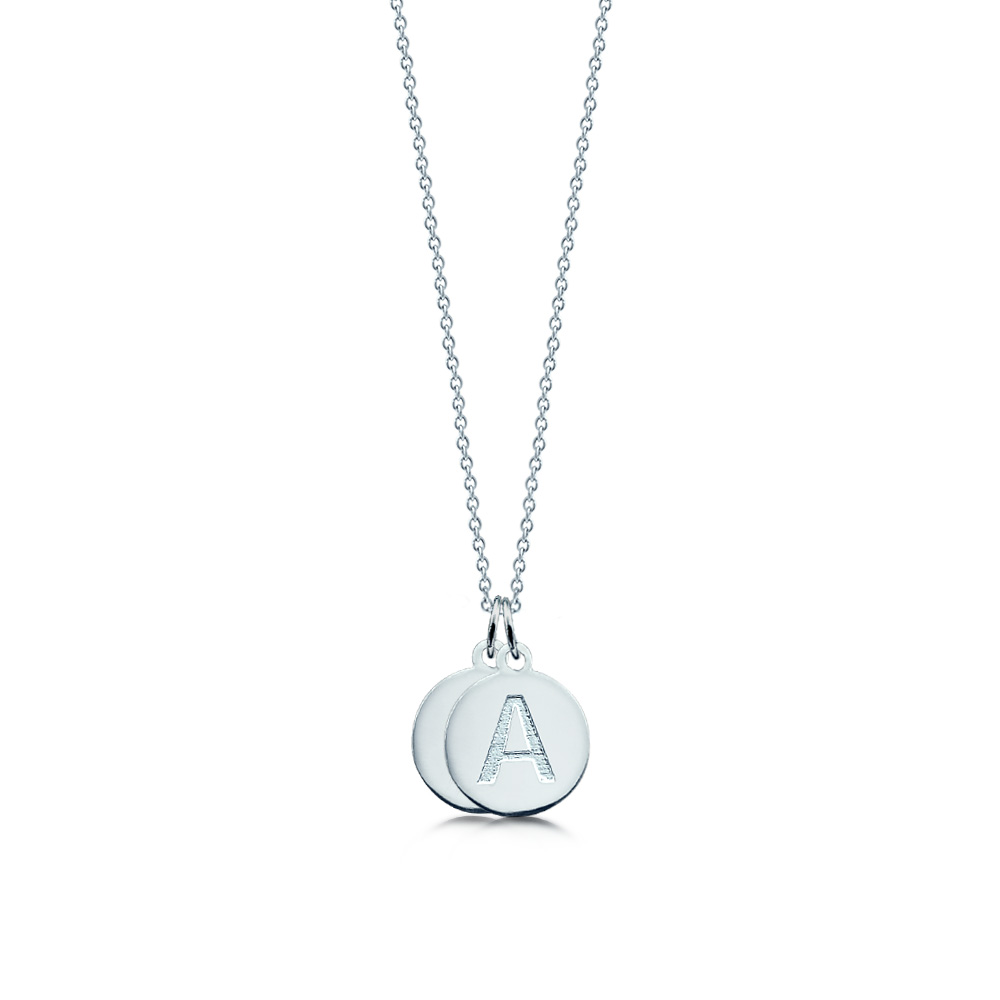 Sterling Silver Double Initial Disc Necklace Zoom View