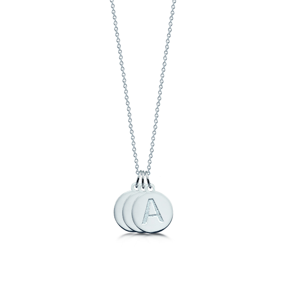 Sterling Silver 3 Initial Disc Necklace Zoom View