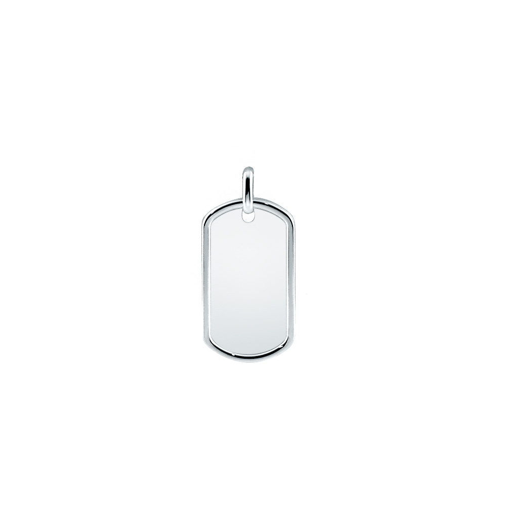 Men's Large Sterling Silver Raised Edge Dog Tag (engravable) Picture