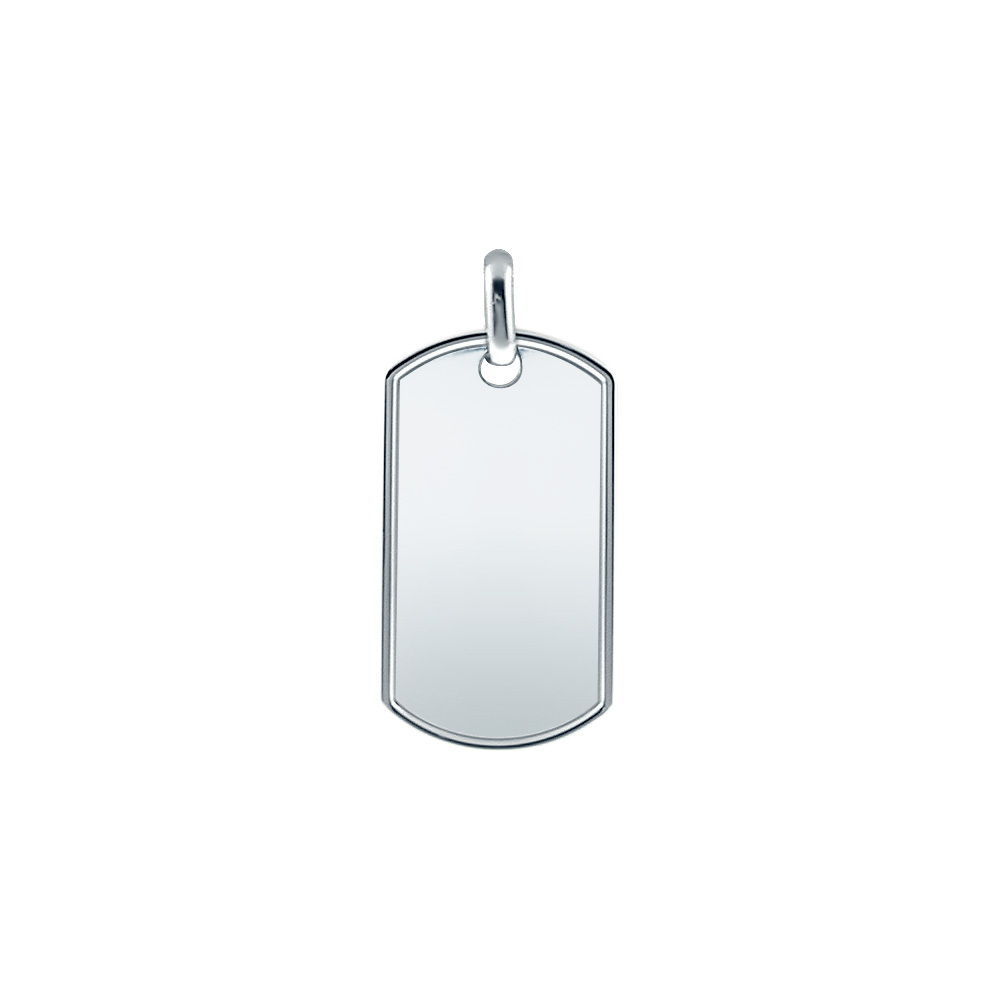 Men's Extra Large Sterling Silver Raised Edge Dog Tag (engravable) Picture