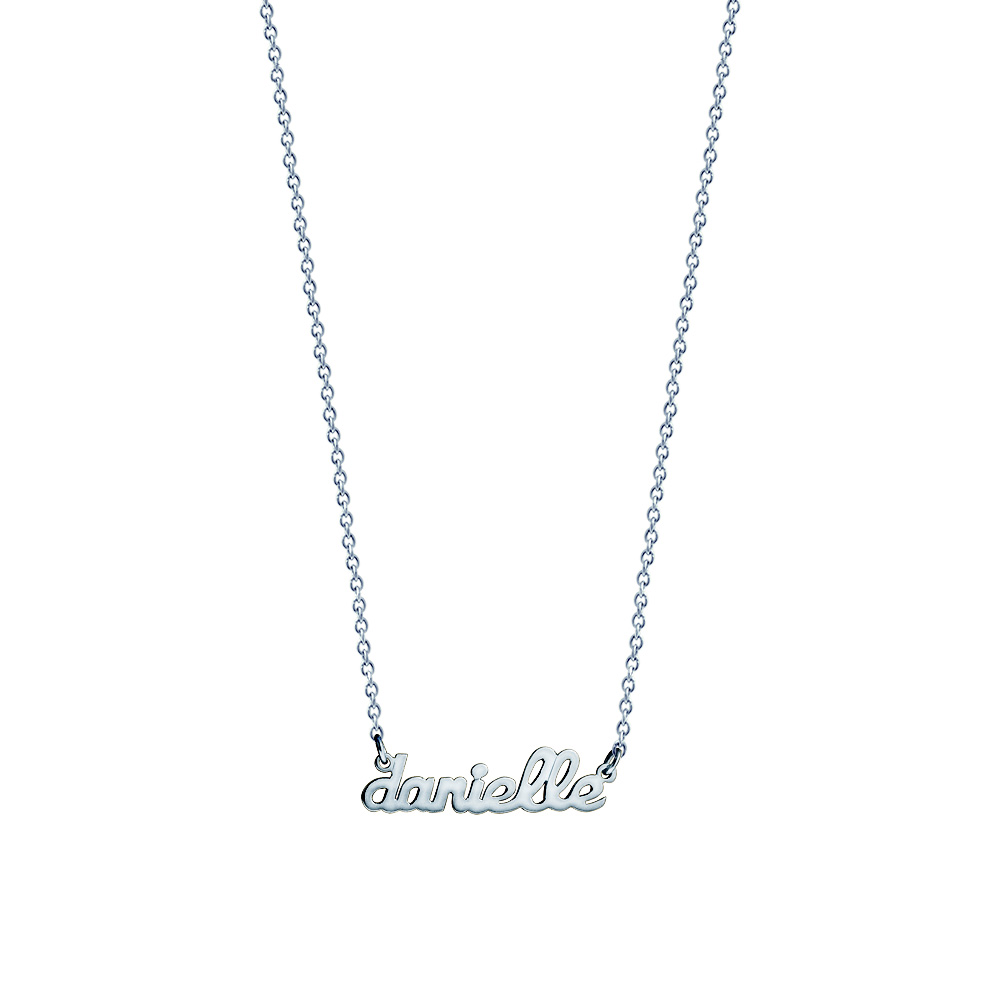 White Gold Nameplate Necklace