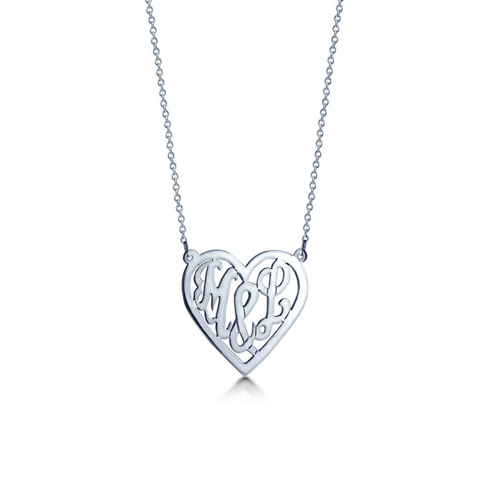 14k White Gold Cut Out Initial Heart Necklace Zoom View