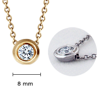18k Gold 8mm Bezel Set Diamond Solitaire Necklace Size