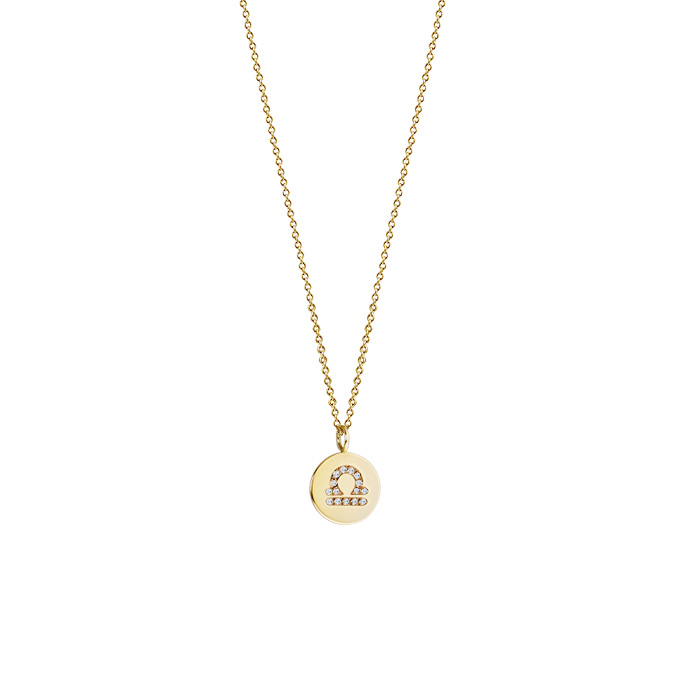 14k Gold Petite Libra Diamond Pendant Necklace Zoom View