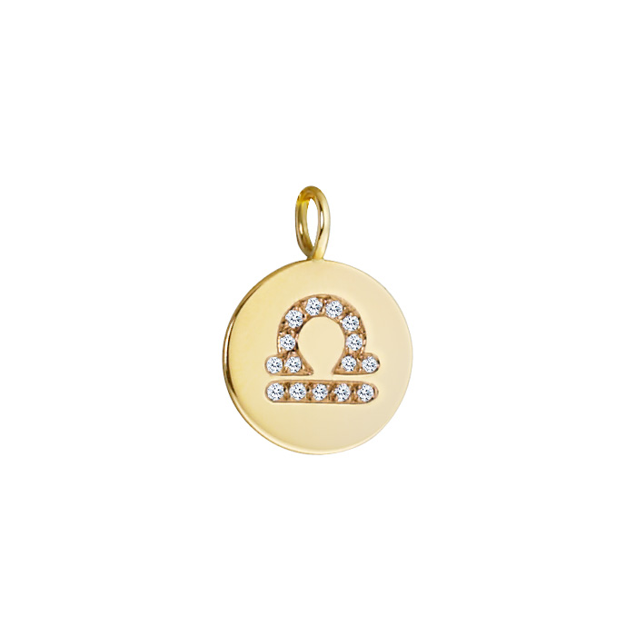 14k Gold Petite Libra Diamond Pendant Zoom View