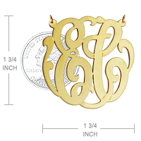 Two Initial Monogram Necklace Size Detail