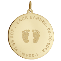 Gold Disc Necklace Footprints Engraving