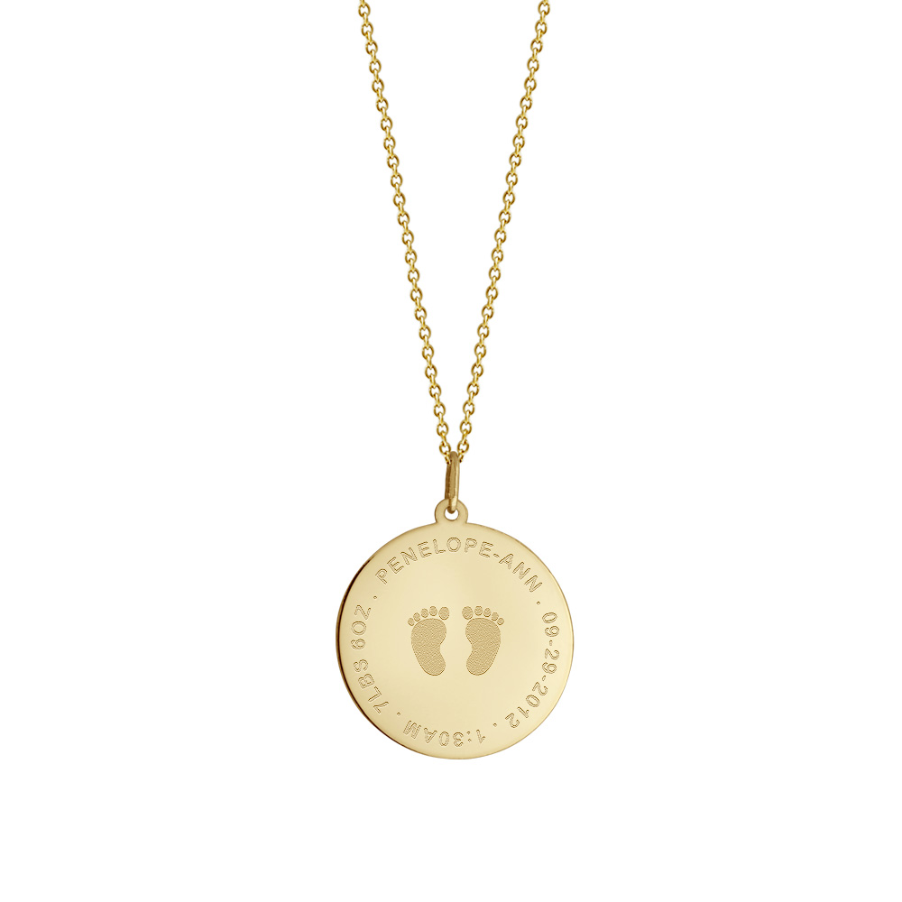 Gold Baby Footprint Charm Necklace