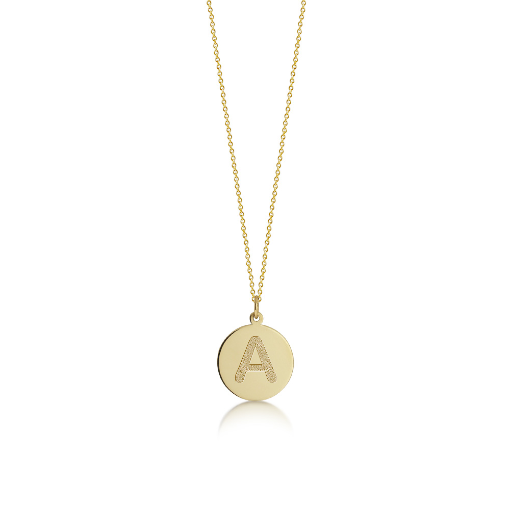 Gold Initial Disc Necklace Zoom View
