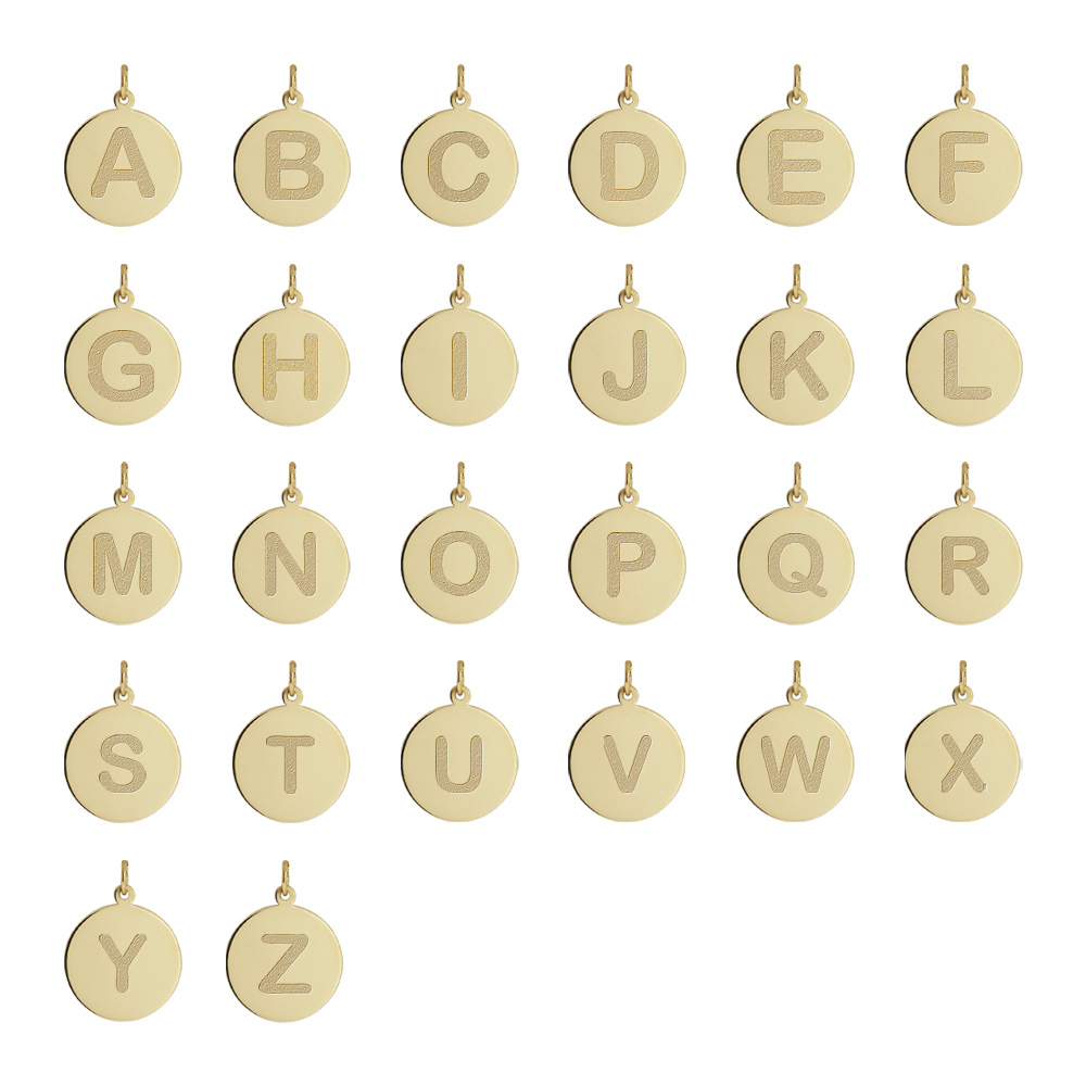 14k Gold Initial Disc Necklace Alphabet