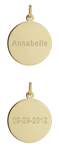 14k Gold Initial Disc Necklace Engraving